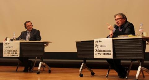 左ロベルト・ヘルマンストラスブール市第一助役、右シルヴァン・シルマンストラスブール大学政治学院長