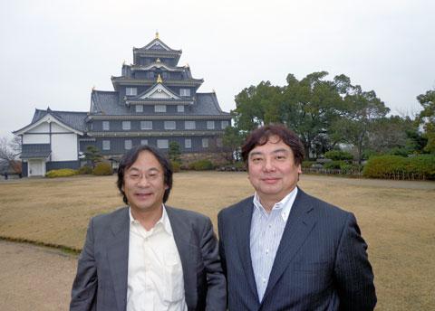 岡山城にて佐藤氏(右)、筒井氏(左)