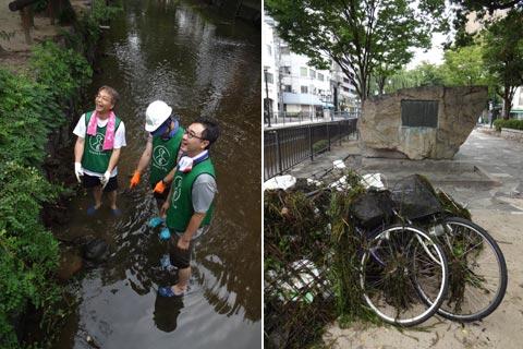 西川緑道公園の清掃ボランティア